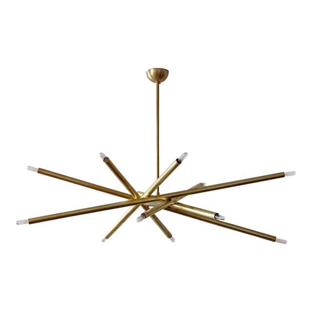 Raw Brass & Spiral Chandelier For Sale