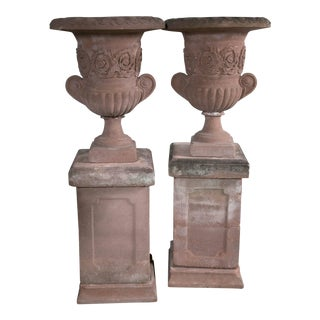 English Terra Cotta Urns - a Pair For Sale
