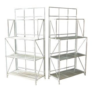 Modern Collapsible Painted Shelves or Racks - A Pair For Sale