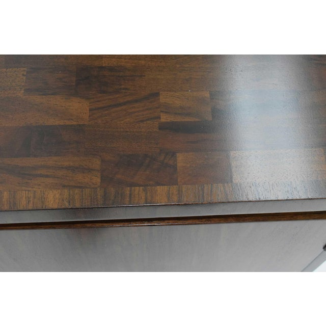 Metal Widdicomb Credenza or Sideboard in Walnut With Parquet Patterned Top For Sale - Image 7 of 13