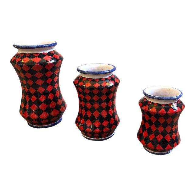 Pieces Hand Painted Sicilian Terracotta Albarello Vases - Set of 3 For Sale