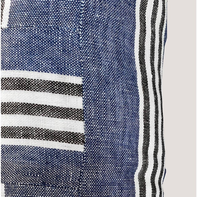 2010s Country Blue Linen Striped Lumbar Pillow For Sale - Image 5 of 6