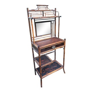 Antique Chinoiserie Bamboo Gilded Etagere Secretary For Sale