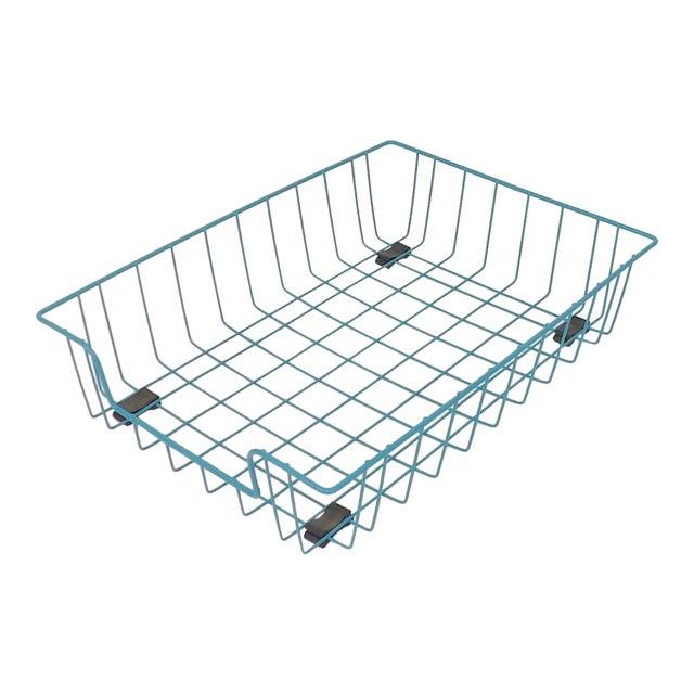 Teal Aqua Blue Mid-Century Modern Metal Wire File Basket or Magazine Rack For Sale