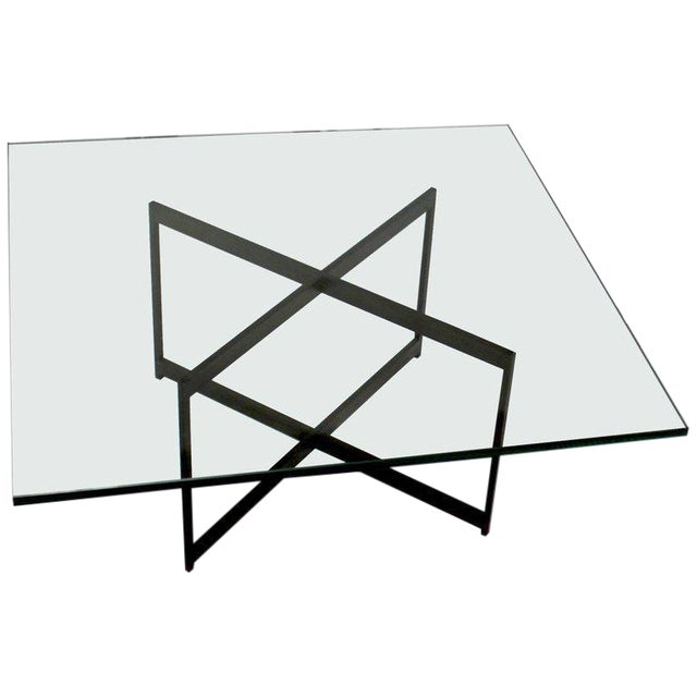 Mid-Century Bronze & Glass X-Base Coffee Table For Sale