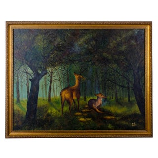"1959 ""Deer in Forest"" Oil Painting on Panel"
