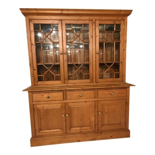 English Pine Breakfront/Bookcase For Sale