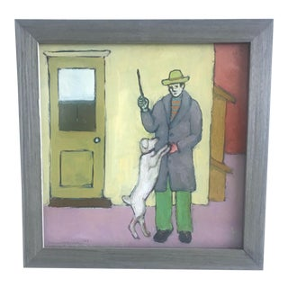 Man With Dog Oil Painting by Tom Gaines, 2003 For Sale