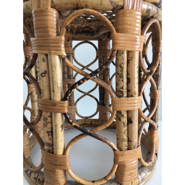 Asian 1970s Mid-Century Modern Tortoise Bamboo & Rattan Tabouret Side Table For Sale - Image 3 of 9