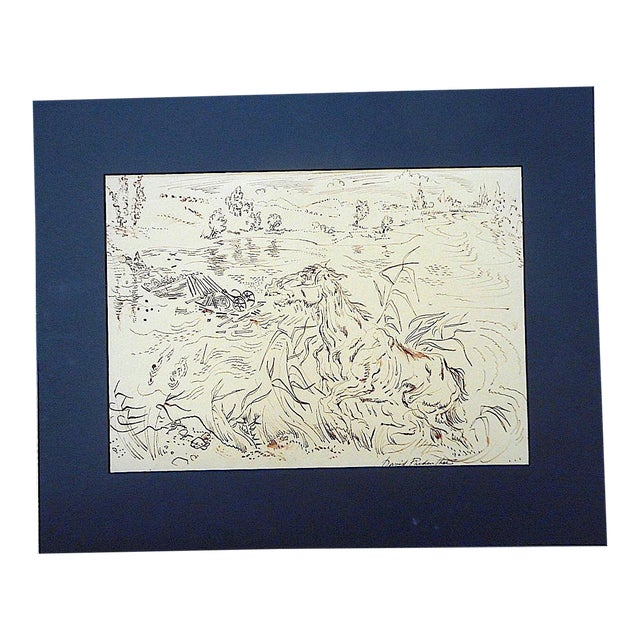 Original Vintage Mid 20th Century Signed Sepia Drawing-D. Fredenthal-Listed American Artist For Sale