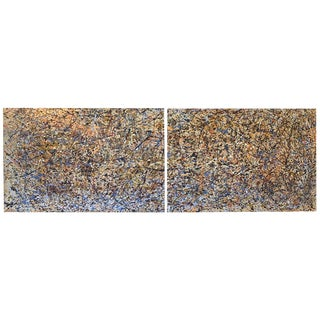 Large Abstract Diptych Painting on Canvas For Sale
