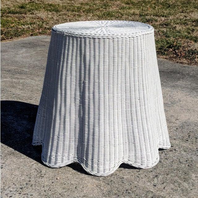 Trompe l'Oeil Draped White Wicker Rattan Ghost Table For Sale - Image 10 of 10