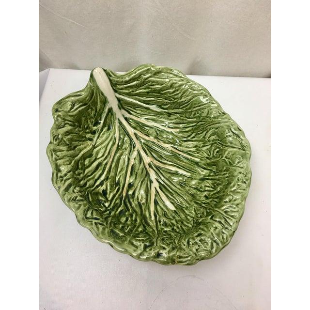Vintage 1950s Majolica Portuguese lettuce leaf salad/serving bowl.