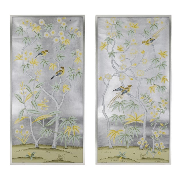 """Jardins en Fleur """"Hampshire"""" Hand-Painted Chinoiserie Silk Diptych, Out of Production - 2 Pieces For Sale"""