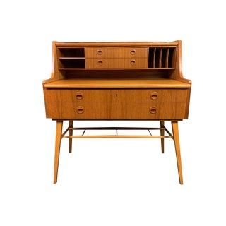 1960s Mid Century Modern Teak Secretary Desk For Sale