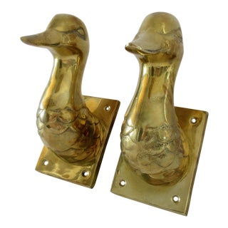Vintage Brass Mallard Ducks Coat Hooks - A Pair