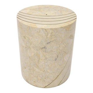 Large Cylinder Tessellated Stone Veneer Brass Inlay Dining Table Base Pedestal For Sale