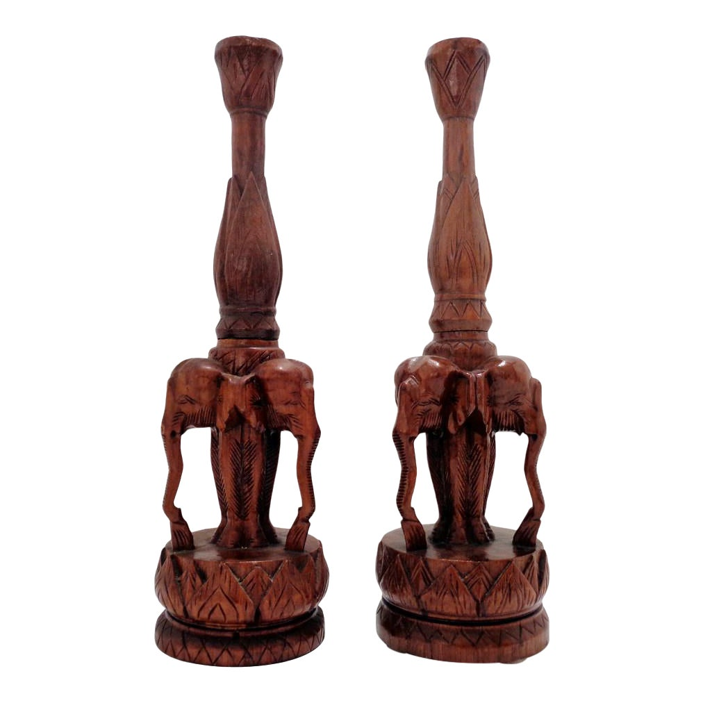 Vintage Elephant Carved Wood Sculptures Lamp Bases A Pair Chairish