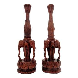 Vintage Elephant Carved Wood Sculptures Lamp Bases ~ a Pair For Sale