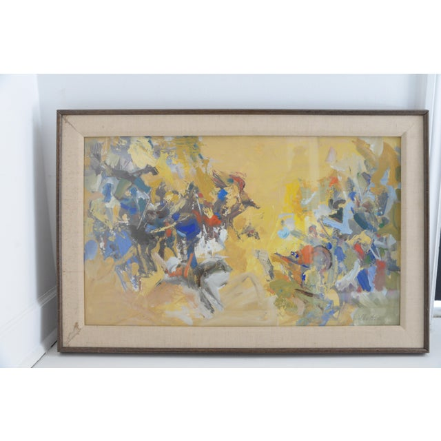 1960s Mid Century Abstract Oil Painting, Framed Behind Glass by Listed Artist Jerry Krellenstein For Sale - Image 5 of 5