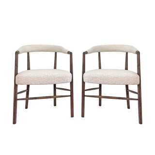 Vintage Mid Century Hans Wagner Shearling Teak Walnut Dining Chairs - a Pair For Sale