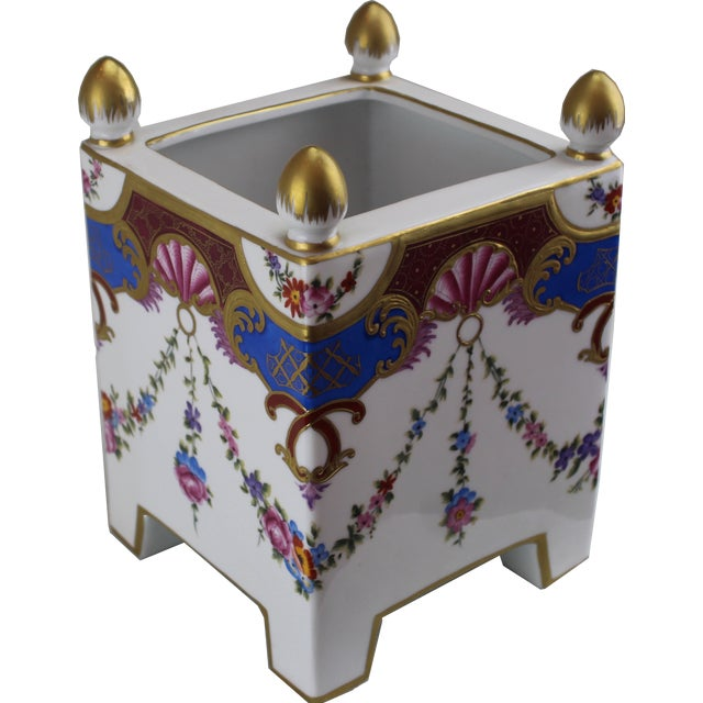 Pasargad DC Italian Square Hand-Painted / Gold Vase For Sale - Image 4 of 4