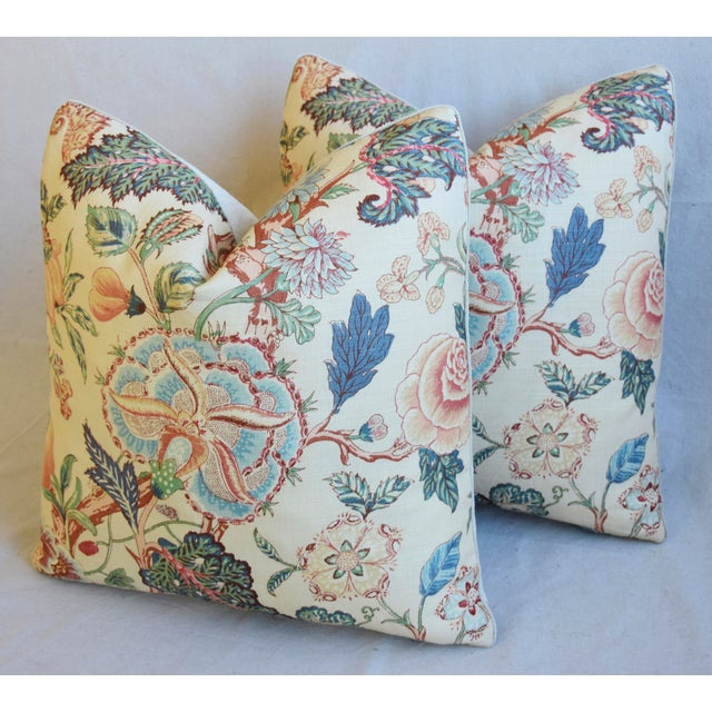 """Blue Travers Tree-Of-Life Linen Feather/Down Pillows 22"""" Square - Pair For Sale - Image 8 of 13"""
