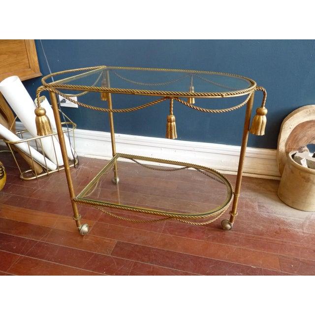 Mid Century Regency Italian Tassel Gilt Bar Cart - Image 2 of 10