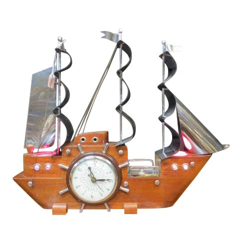 1960 Vintage Mid Century Modern Sailing Ship Clock and Light For Sale