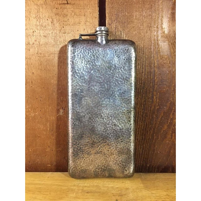 "Hand hammered, silver-plate hip flask made by Apollo Co c.1900. Beautiful flask with gorgeous worn patina in original, ""as..."
