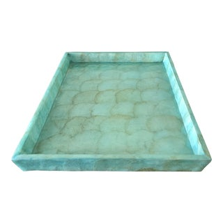 Pigeon & Poodle Andria Aqua Hammered Shell Large Tray For Sale