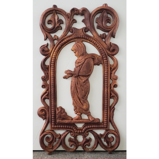 Victorian Late 19th Century English Victorian Cast Iron Woman Warming Hands Over Fire Plaque For Sale - Image 3 of 3
