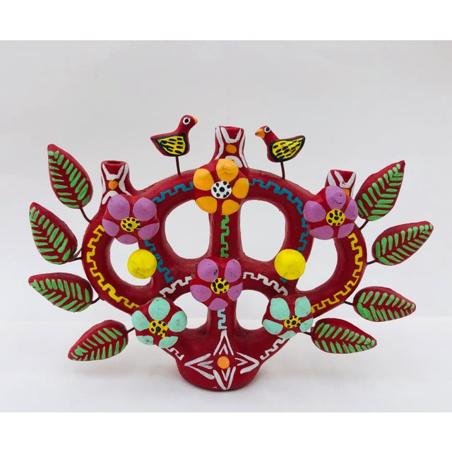 Red Hand Crafted Mexican Tree of Life Candelabra For Sale - Image 8 of 8