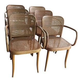 Josef Hoffmann Thonet No 811 Bentwood Cane Chairs - Set of 6