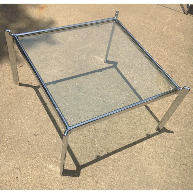 Mid Century Modern Heavy Chrome & Glass Table - Image 2 of 4