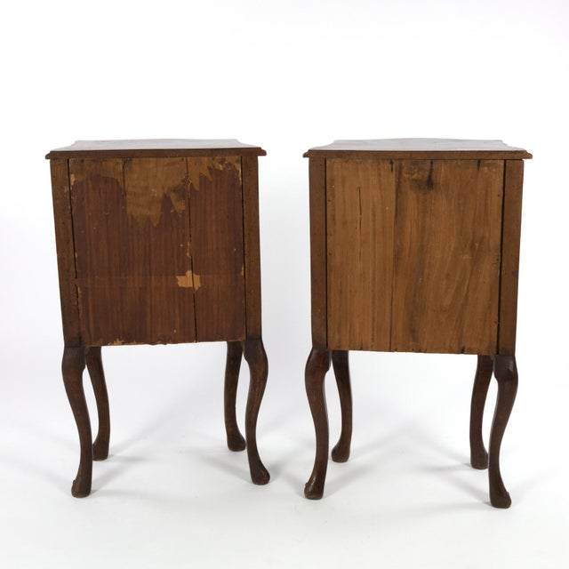 1890 Pair of Italian Walnut Bedside Tables With Carved and Ebonized Details, Each With Faux Drawer Front Single Doors For Sale - Image 4 of 13
