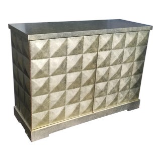 Barbara Barry for Baker Silver Leaf Brutalist Sideboard Diamond Chest For Sale