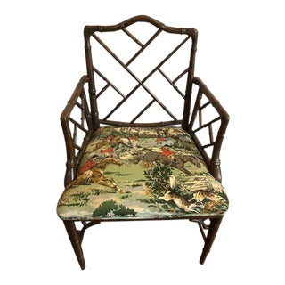 Vintage Mid Century Chinese Chippendale Equestrian Accent Chair For Sale