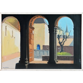 'Monestary Courtyard' Mid-Century Modern Cubist Style Original Oil by Stig Wernheden For Sale