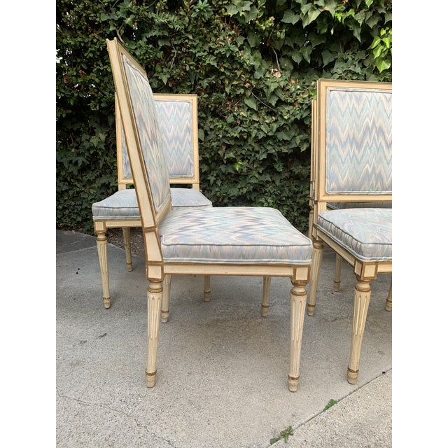 Hollywood Regency Dining Chairs With Blue Upholstery - Set of 4 For Sale - Image 4 of 8