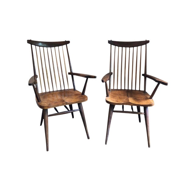 """1940s Vintage George Nakashima Style """"New"""" Chairs- A Pair For Sale"""
