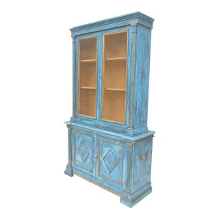 Mediterranean Blue Italian Cupboard For Sale