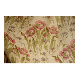 "French Floral Cotton Sheer Light Weight Poppies Fabric - 49.5x60"" For Sale"