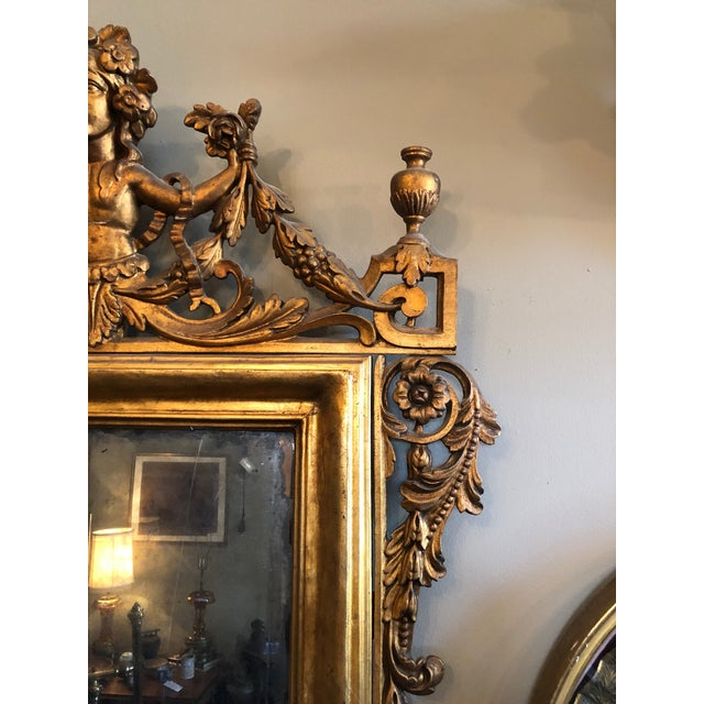 Early 19th Century Antique Neo Classical Carved Wood Italian Gilt Mirror For Sale In Minneapolis - Image 6 of 12