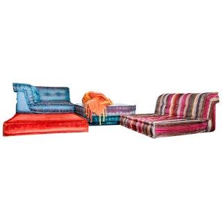 Hans Hopfer Roche Bobois Jean Paul Gaultier Silk Velvet Le Mah Jong Modular Sofa For Sale