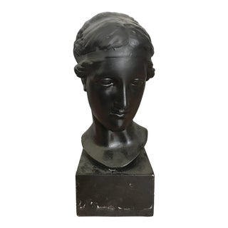 Contemporary Black Romanesque Plaster Bust of a Woman For Sale