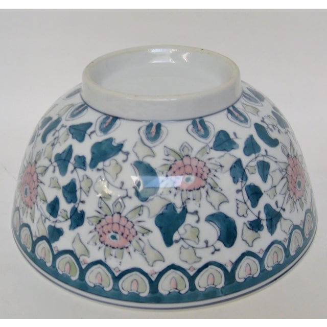 Chinese Green & Pink Floral Porcelain Serving Bowl - Image 7 of 7