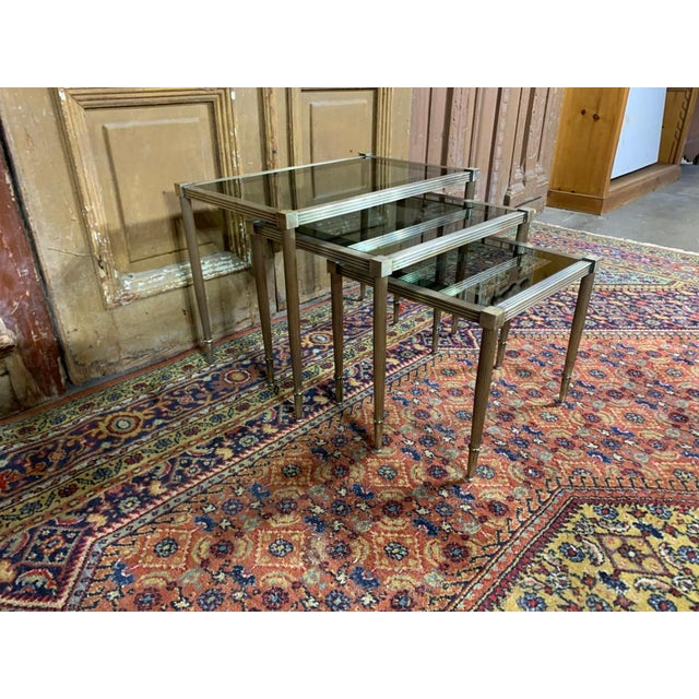Maison Jansen Maison Jansen Mid Century Silvered Brass and Glass Nesting Tables - Set of 3 For Sale - Image 4 of 5