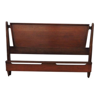 Mid Century Modern Full Size Walnut Headboard and Footboard by Bassett For Sale