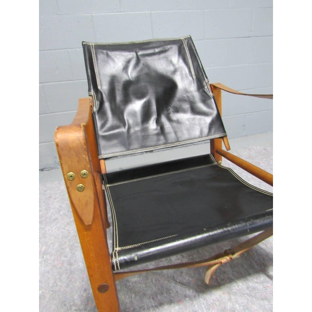 Black Black Leather Safari Chair by Kaare Klint for Rud Rasmussen For Sale - Image 8 of 10
